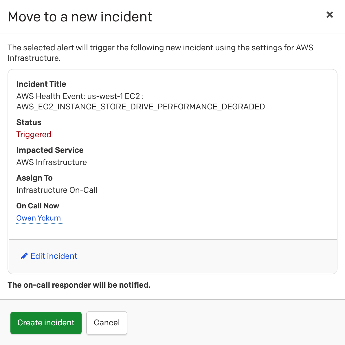 (4) Option to move alert to a new incident.
