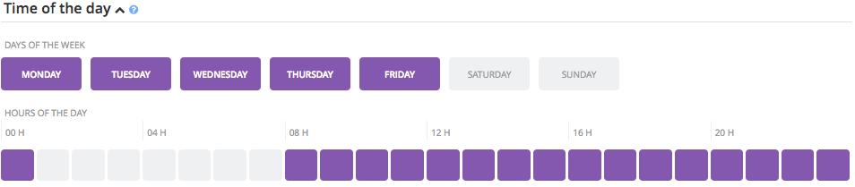 Exemple de ciblage excluant les week-end et de 1h à 8h du matin.