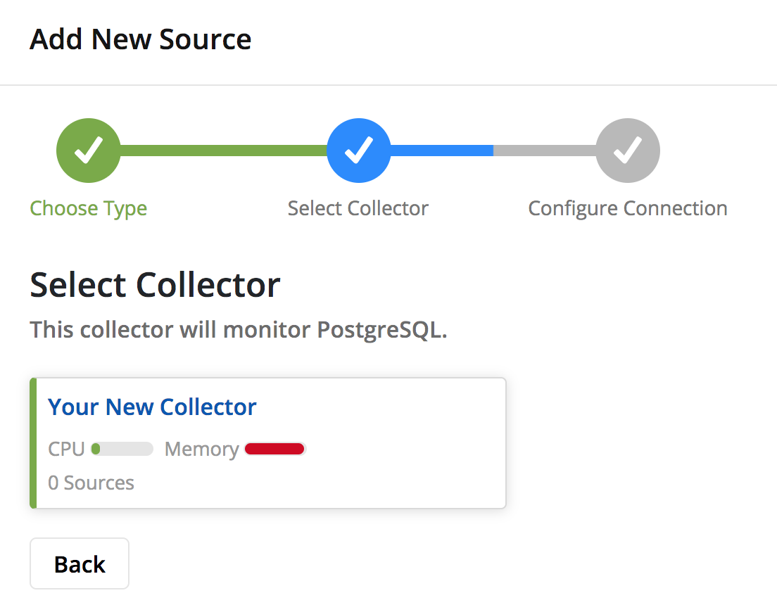 Select a Collector to use. In this case there should only be one, so the decision's easy! If you add multiple Collectors for multiple networks or datacenters, it's important you choose the Collector in the same region as your Source.