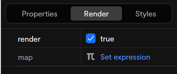 The render controls available on every component.