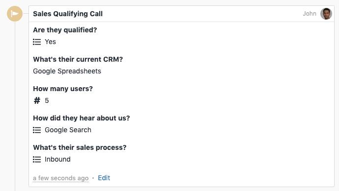 Sales Qualifying Call as a Custom Activity example