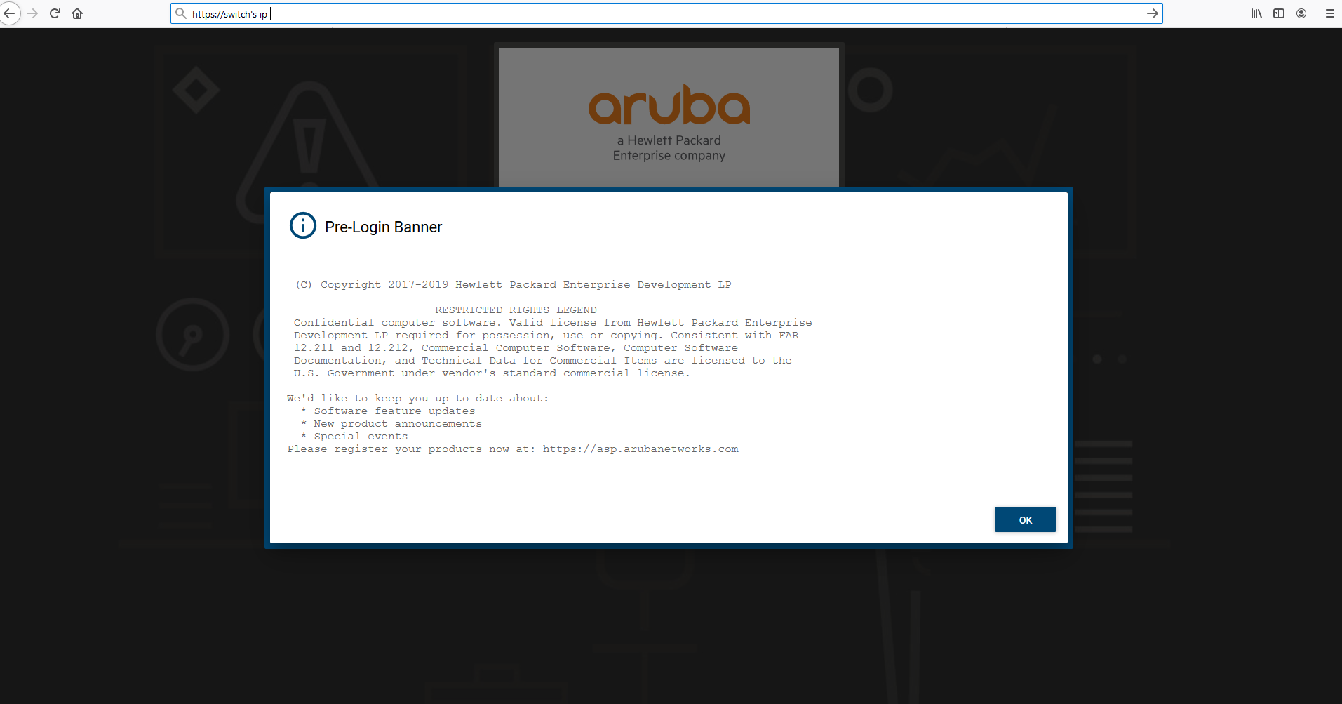 Landing message and page for AOS-CX web UI