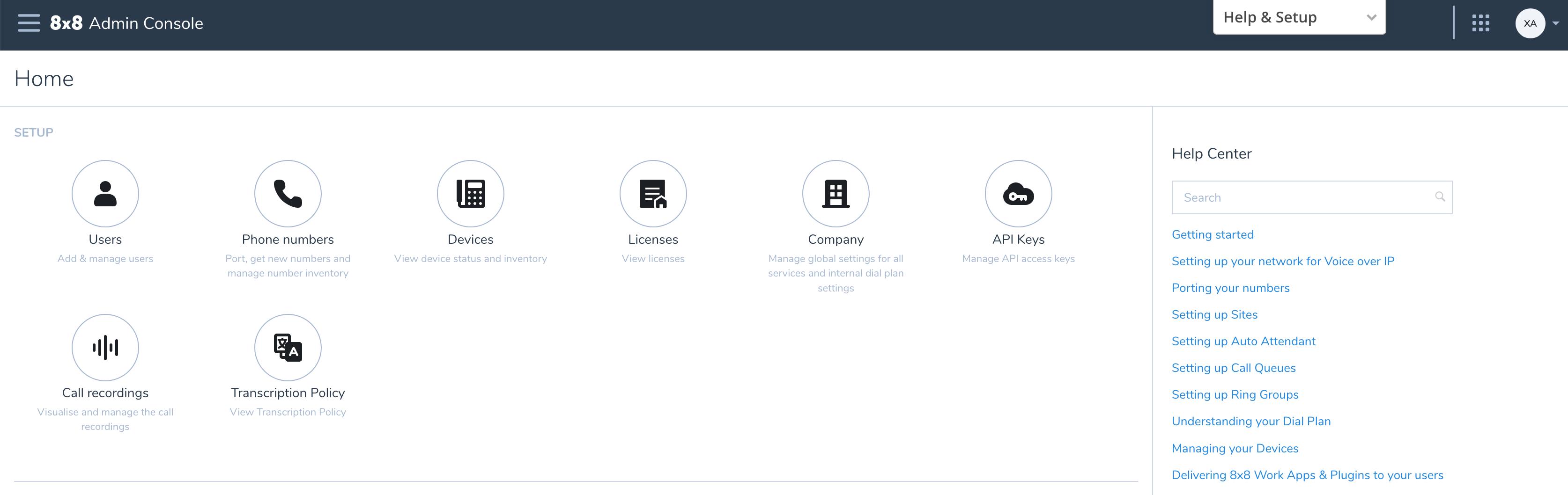 Admin Console Home Page