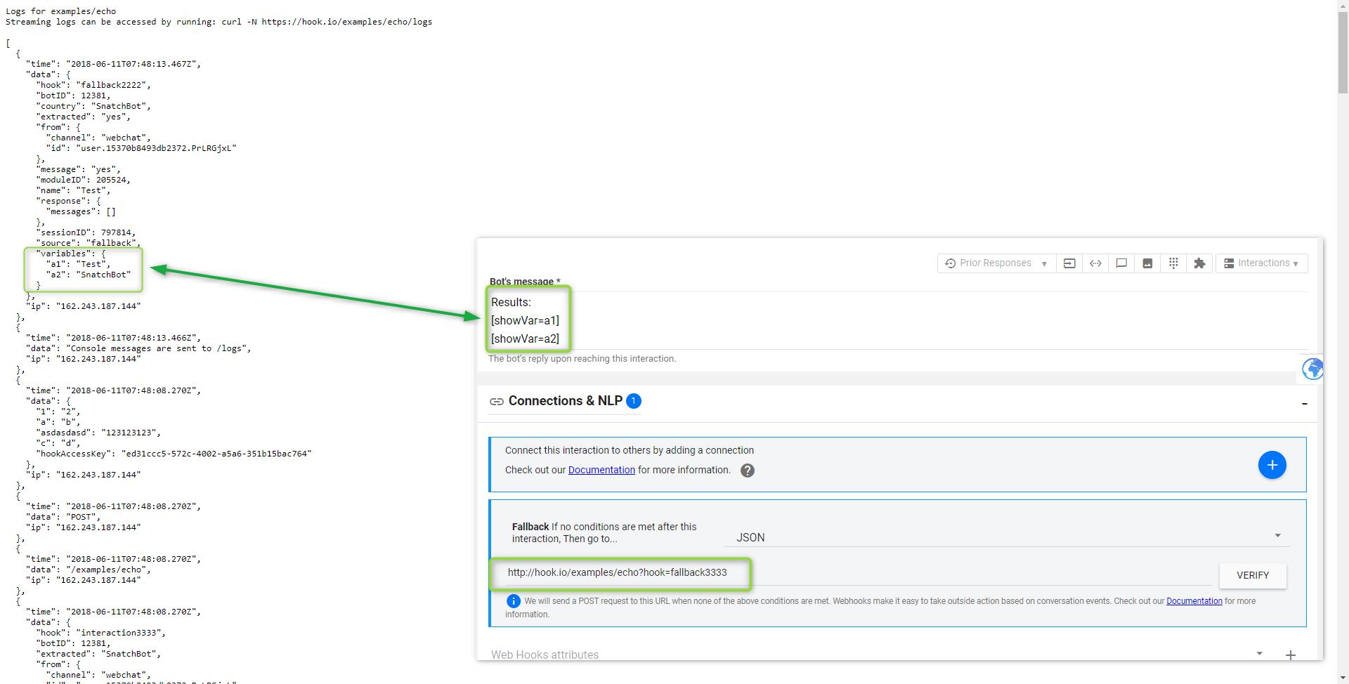 Custom Var, JSON API and Webhook