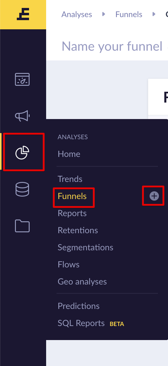 You can create the funnel tool by clicking on the buttons highlighted in red