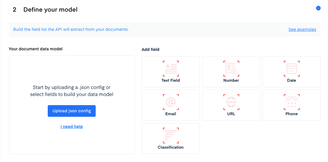 Upload JSON or manually set up your API