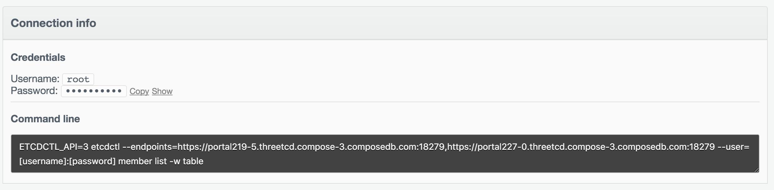 etcd v3 connection info