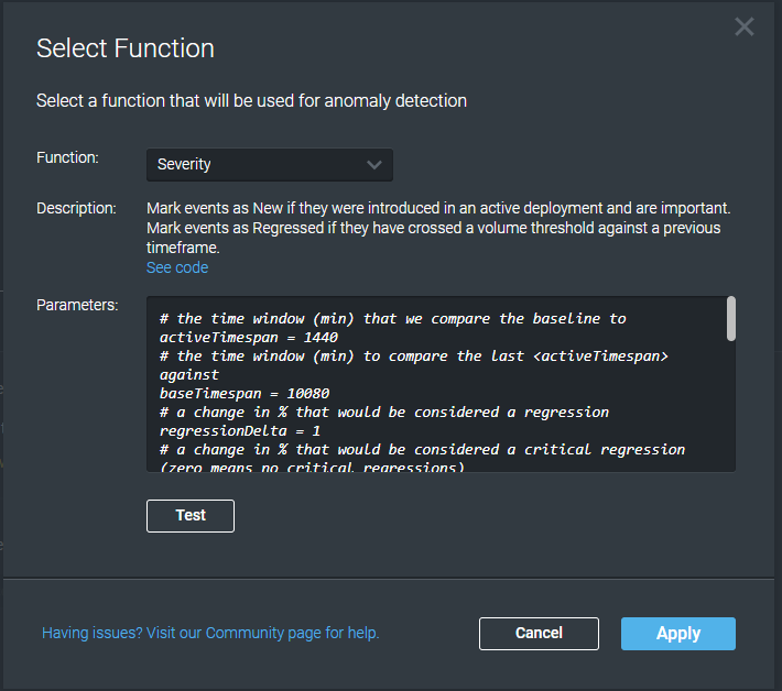 Dialog with Selected Function