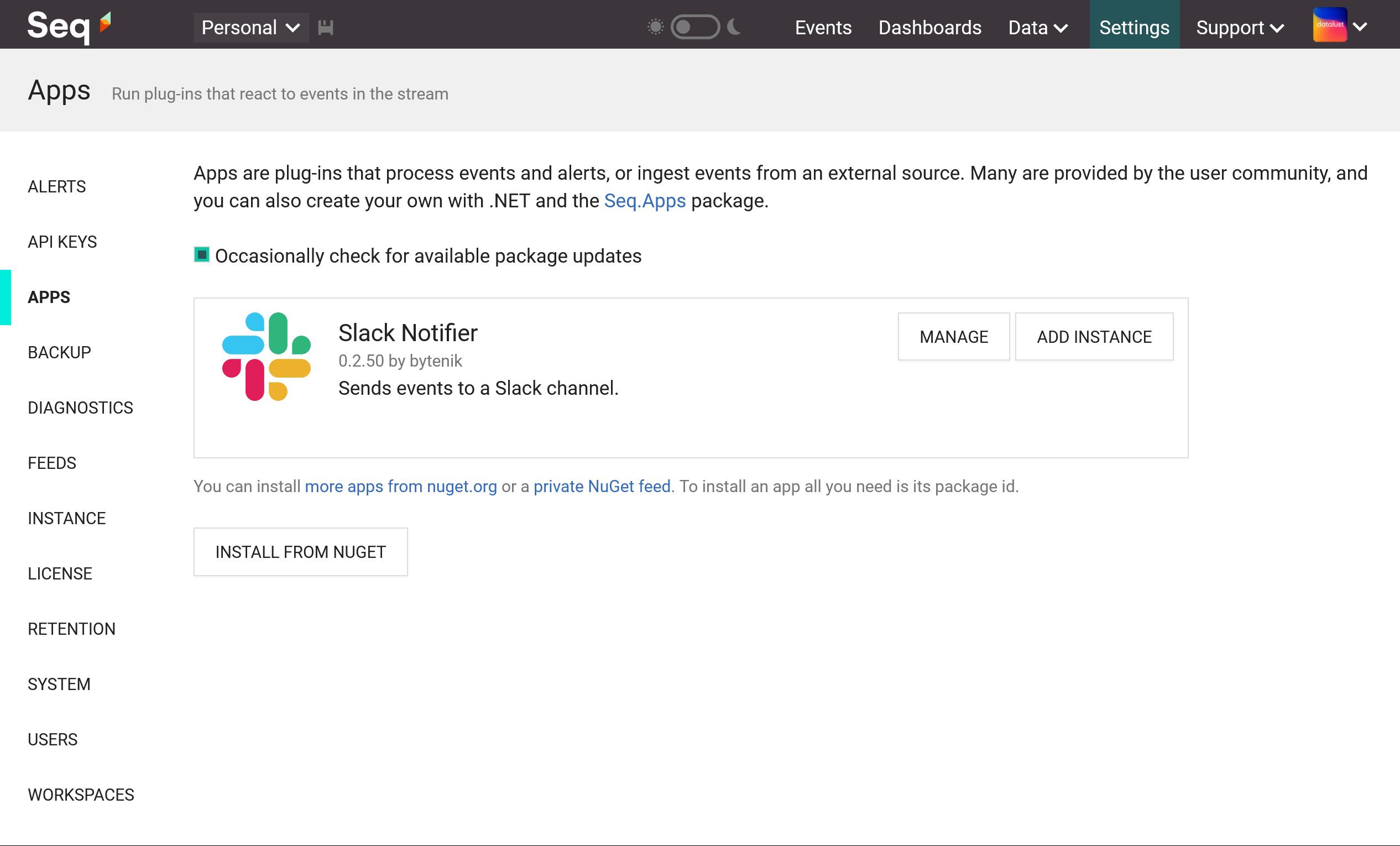 Slack app installed in Seq.