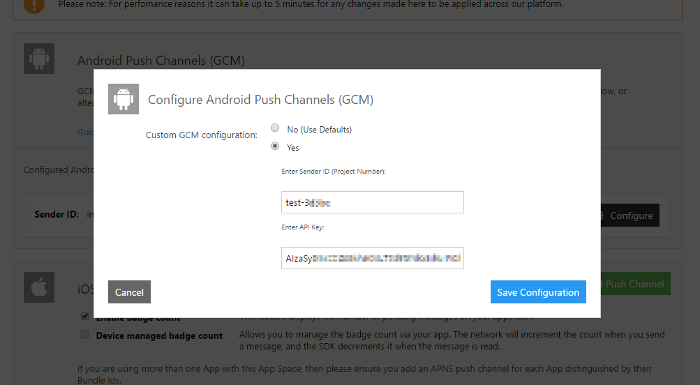 Enter your GCM details into Inbox Control