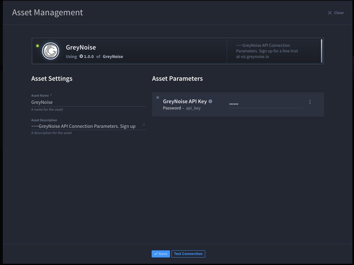 Configuring GreyNoise Asset in Swimlane