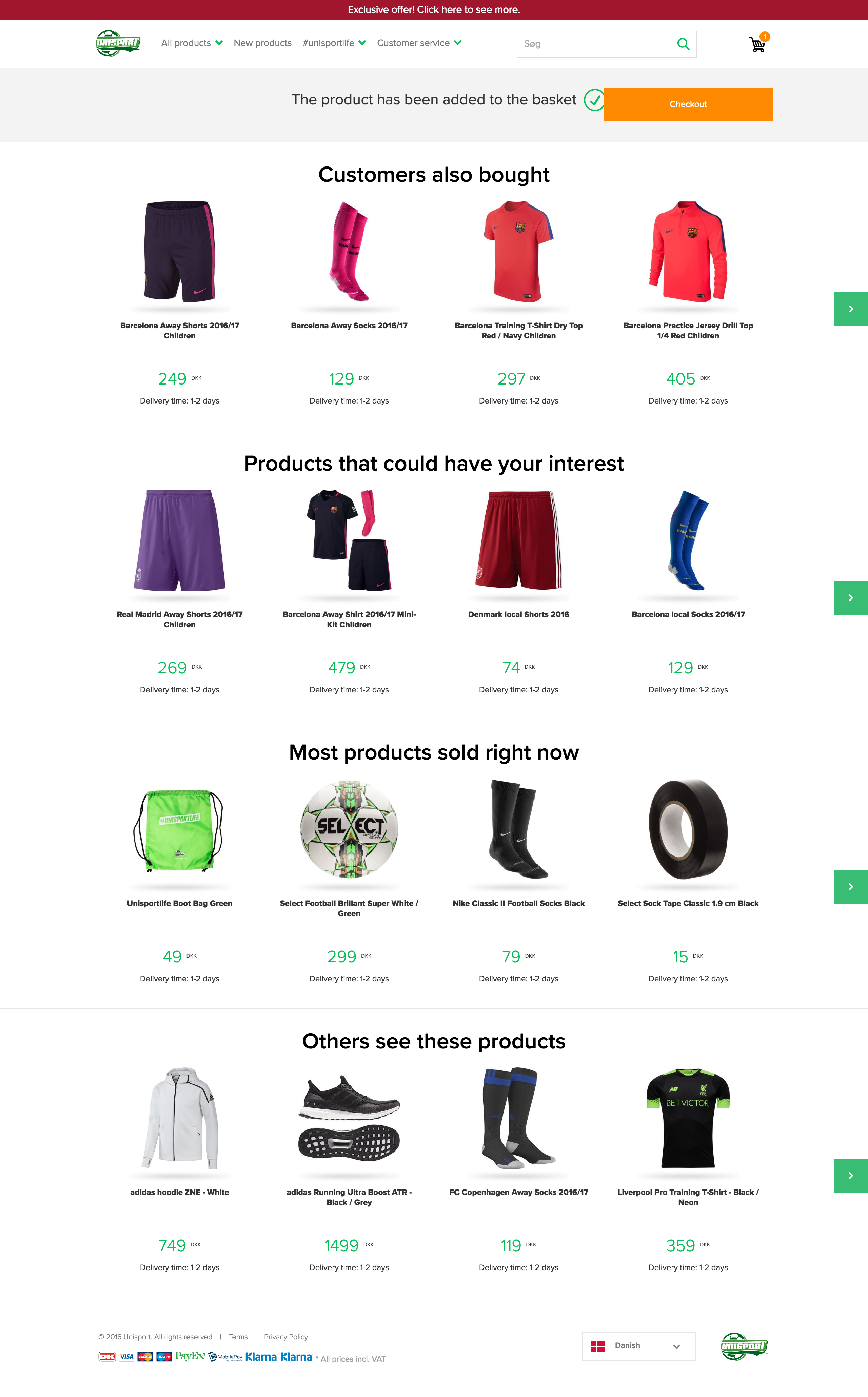 Unisportstore.com Add-To-Basket page with 4 different upselling strategies.