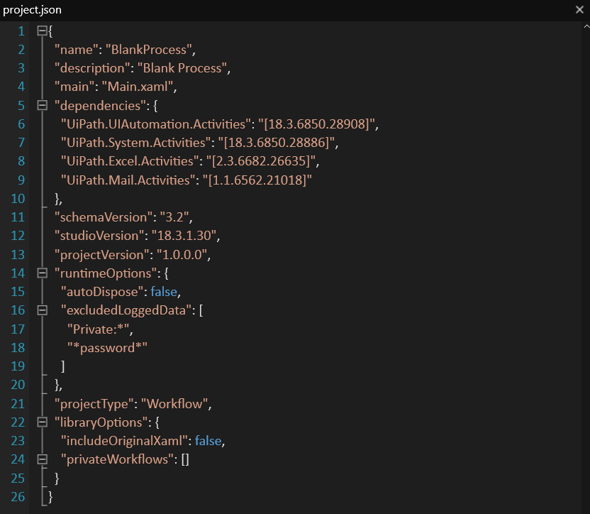 About the Project Json File