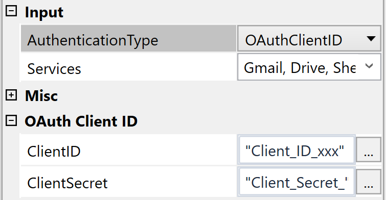 In order to use OAuth authentication, add your generated ID & Secret to the **ClientID** and **ClientSecret** fields and switch **AuthenticationType** to OAuthClientID.