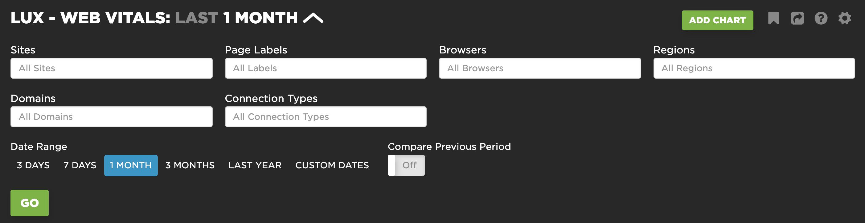 Filtering the Web Vitals Dashboard