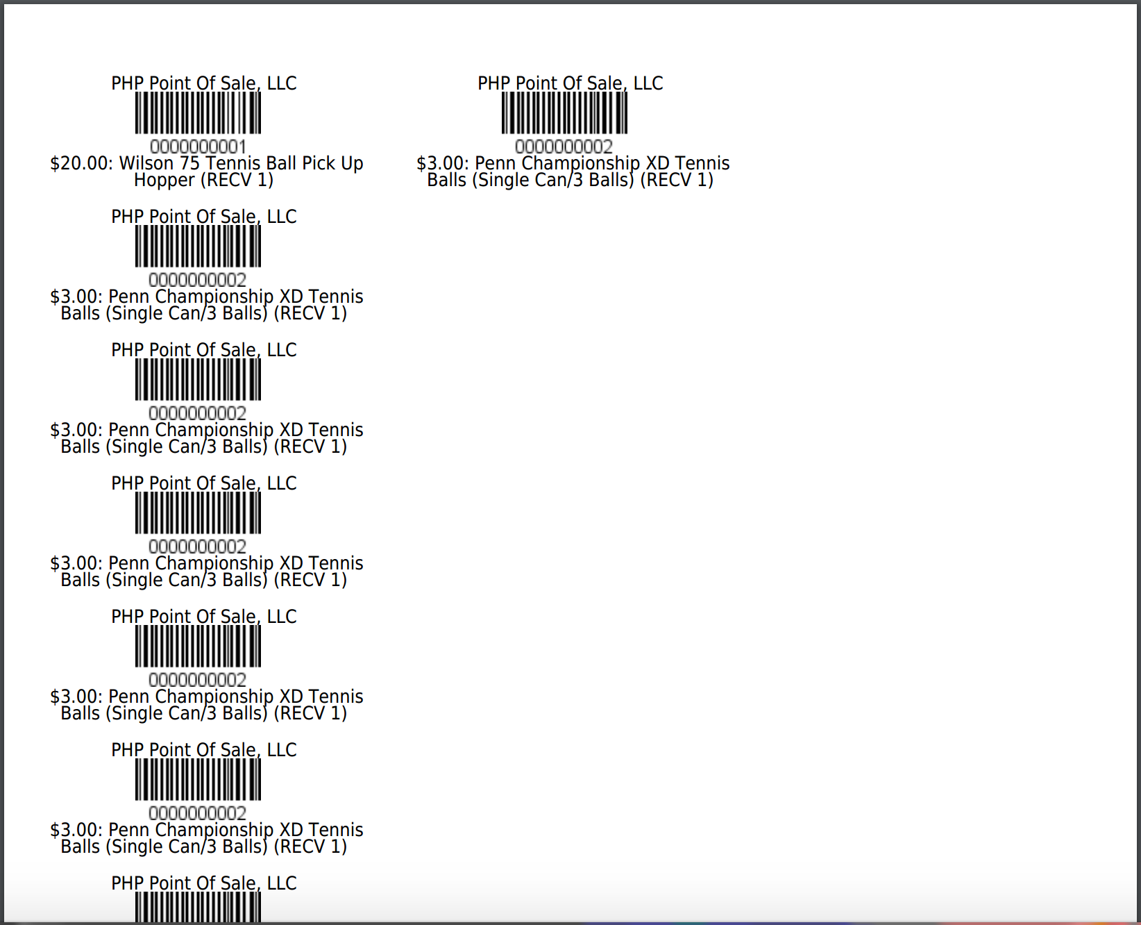 Barcode Sheet