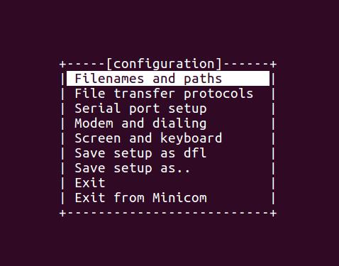 Main configuration menu of minicom.