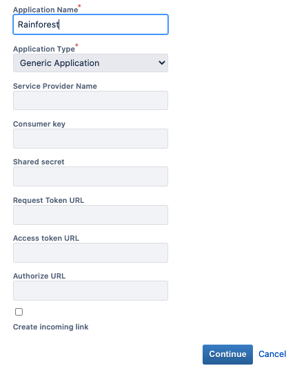 Enter an Application Name and select Continue.