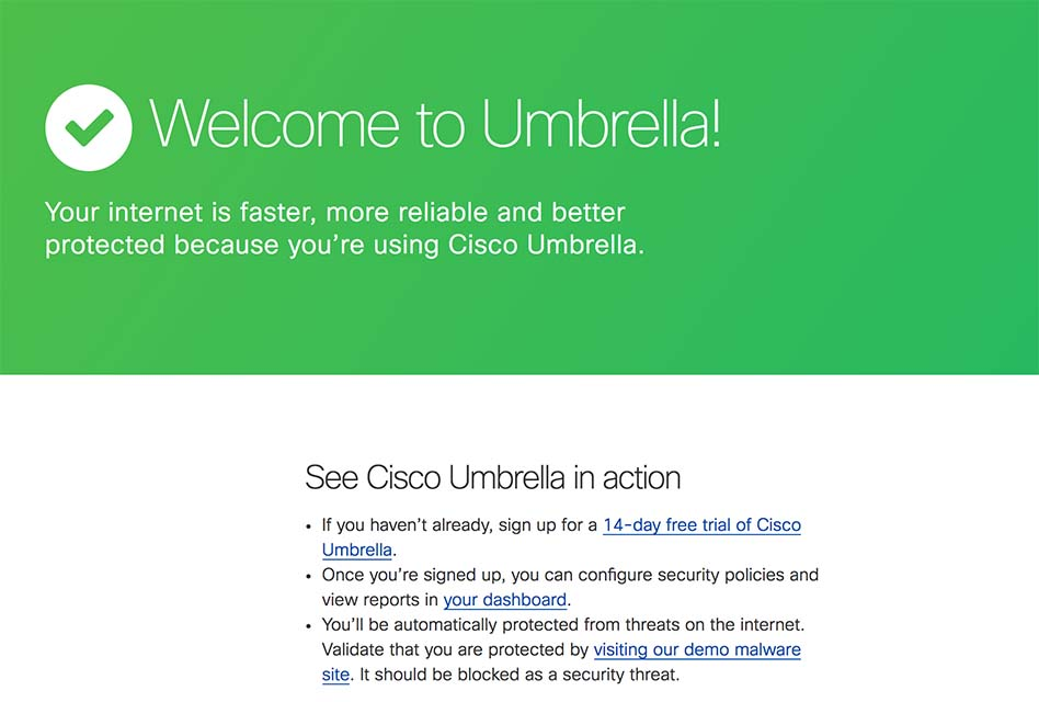 Point DNS to Cisco Umbrella
