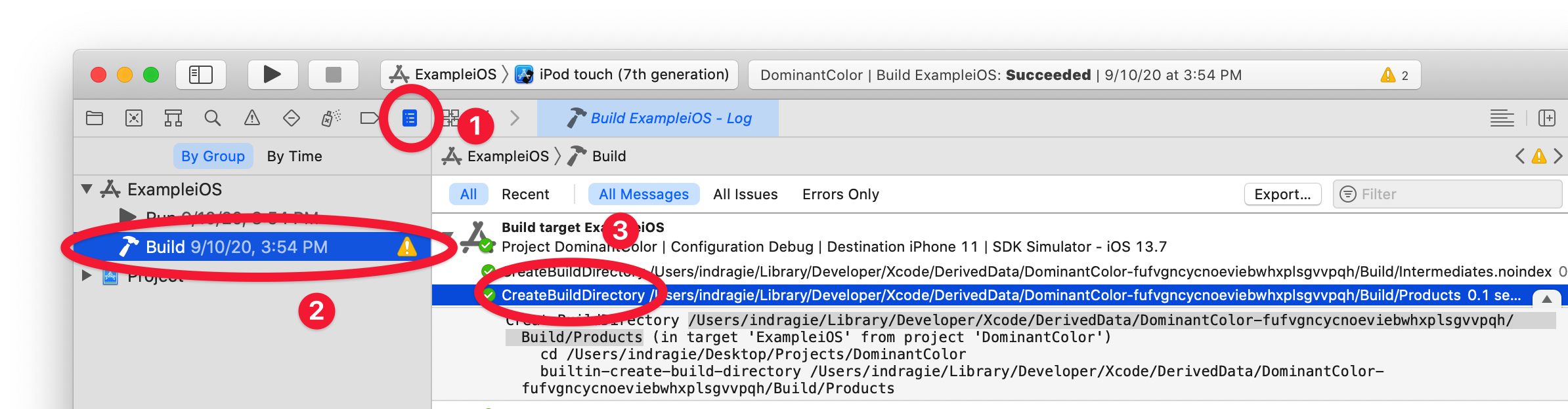 Finding the CreateBuildDirectory action in the Xcode Report navigator