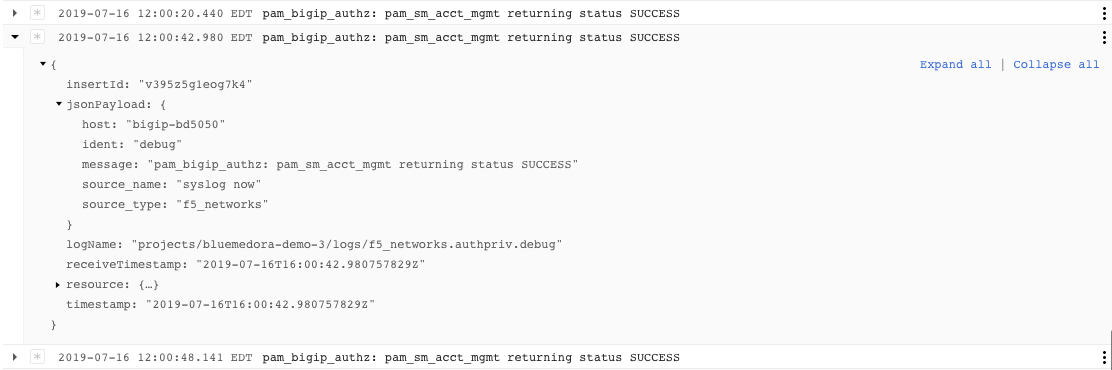 F5 Networks logs for debug messages within the authpriv facility