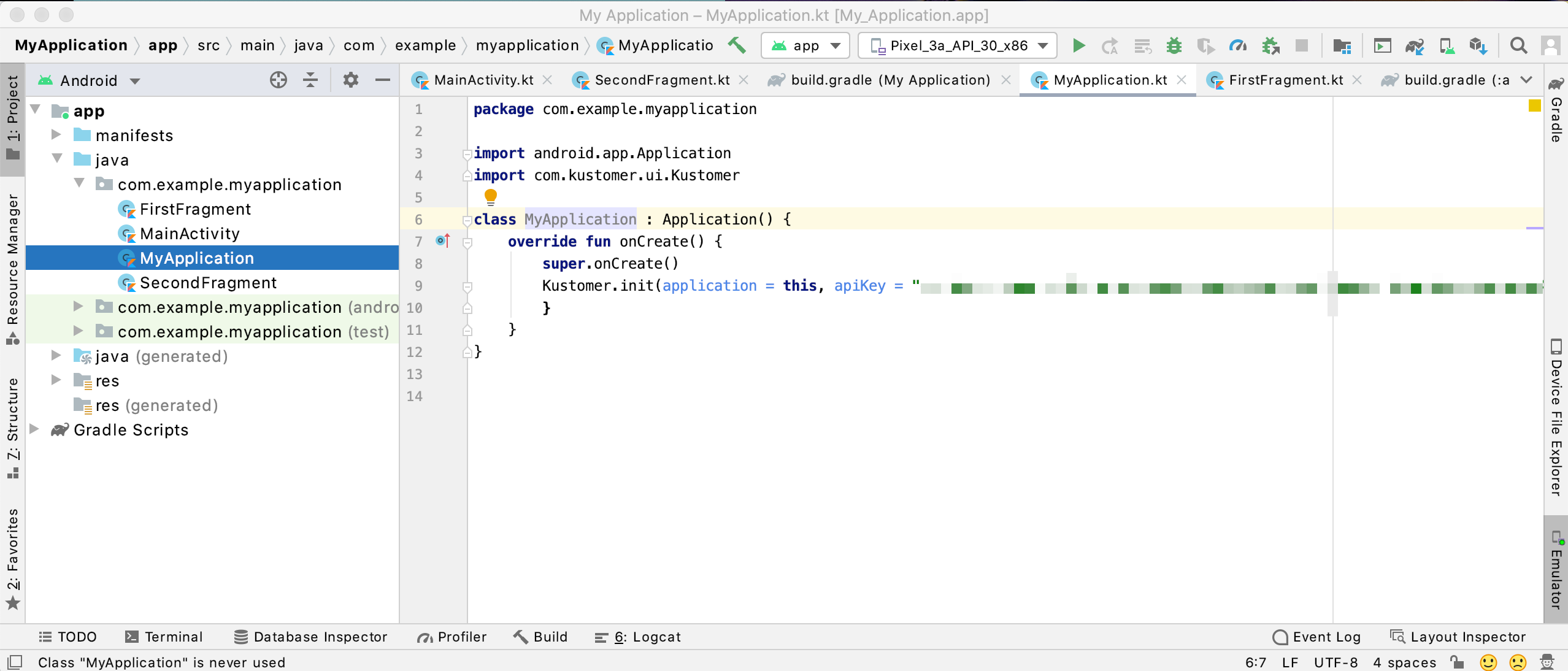 Initialize the Kustomer Chat SDK with a valid API key in your Application class.
