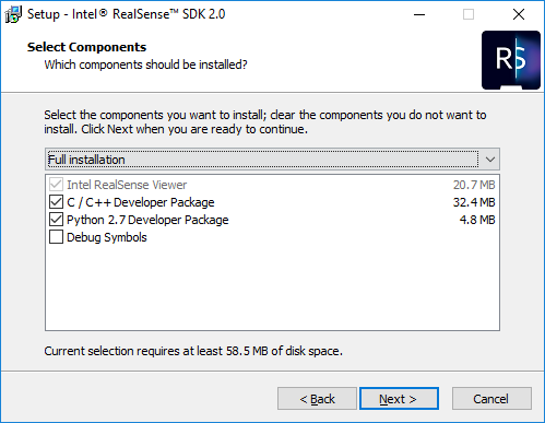 Windows installation of Intel RealSense SDK 2 0