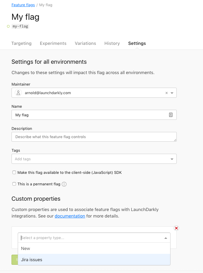 The flag's Settings page, configured with a `Jira issues` custom property.