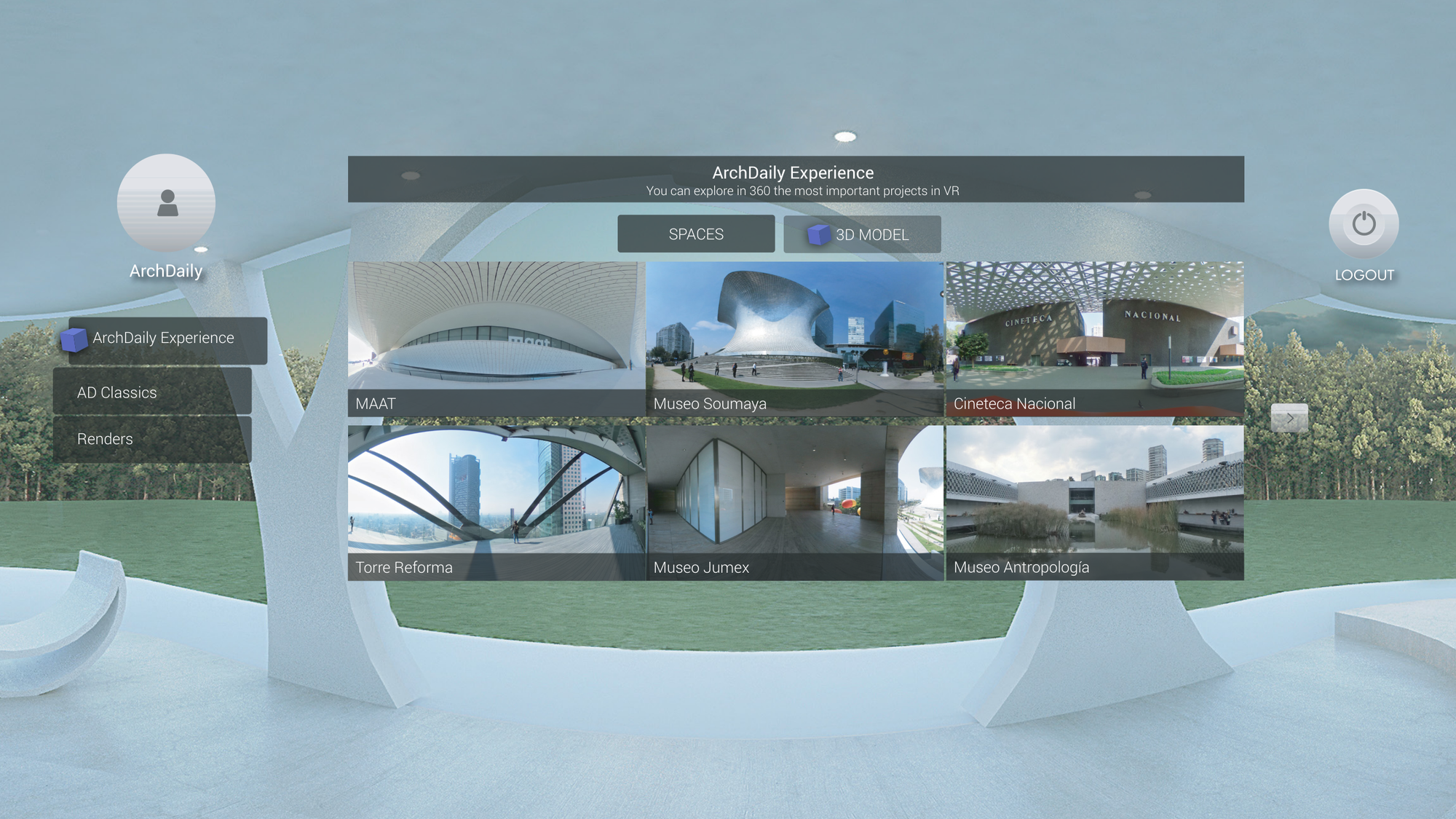 Interface to select Projects, 360 spaces and 3D models uploaded to your account