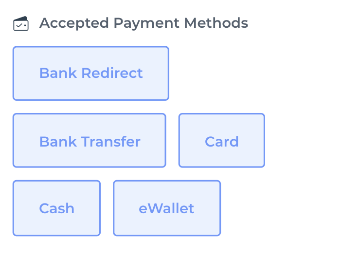 Choose your accepted payment methods