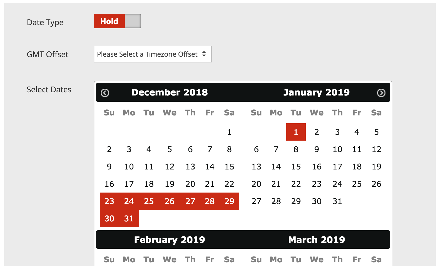 Note: You must click on each date individually. For example, if you want to HOLD the campaign from December 23 through January 1, click on each date you want it held.