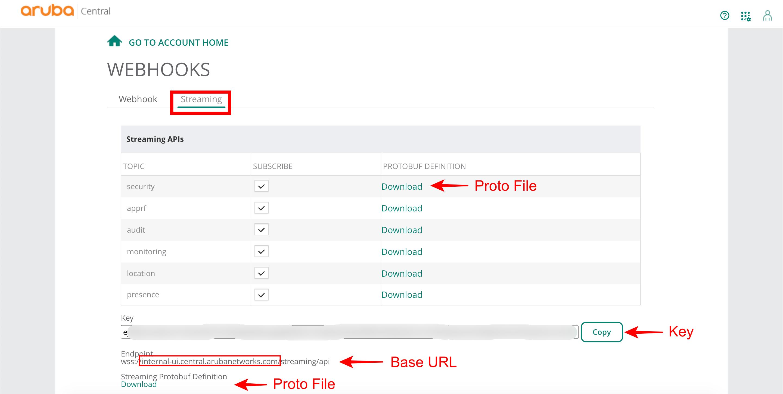 Streaming API in Aruba Central WebUI