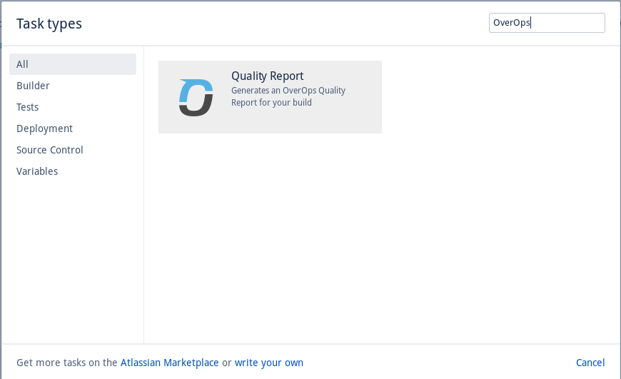 Add the OverOps Quality Report task