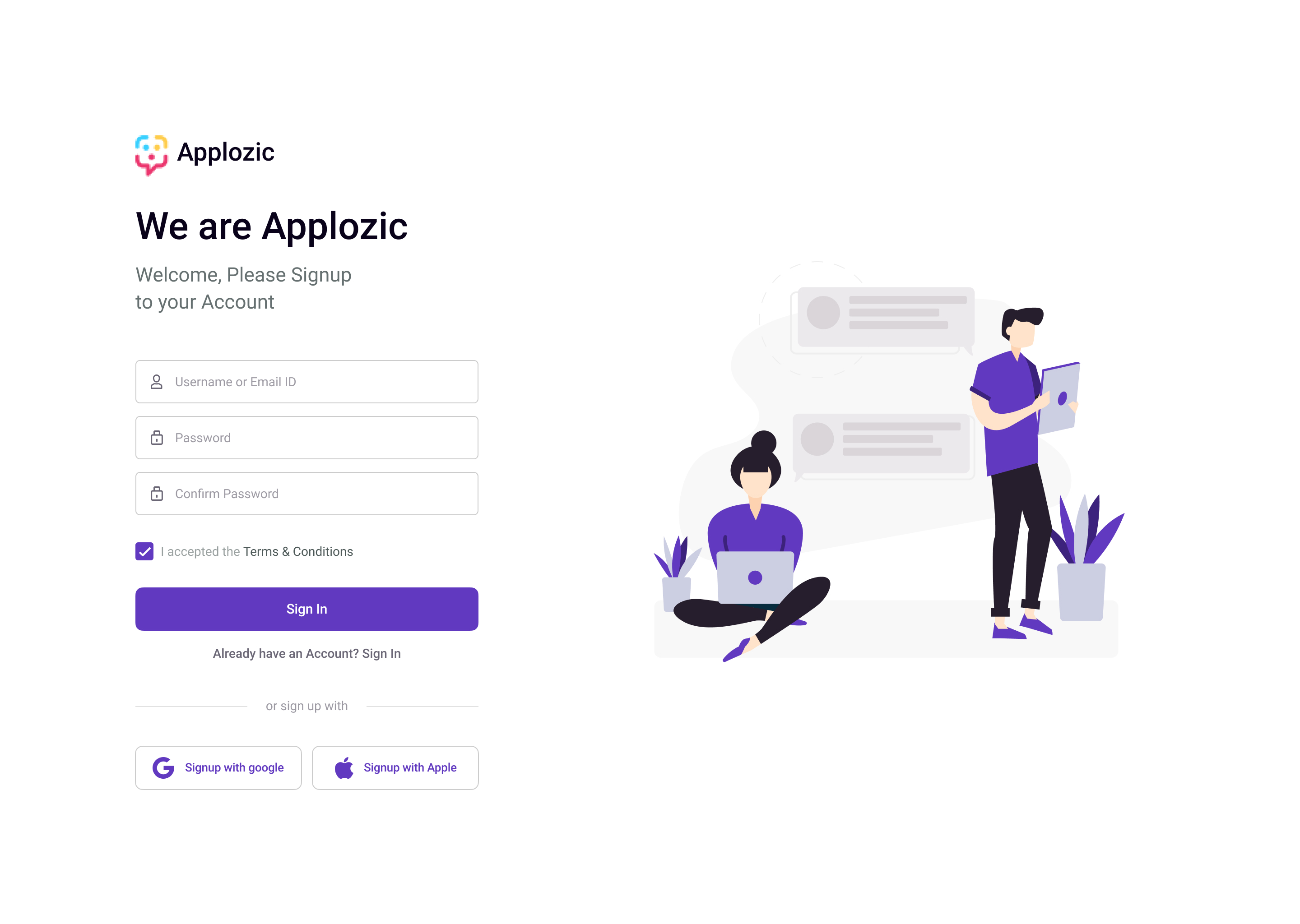 Core Web SDK signup page