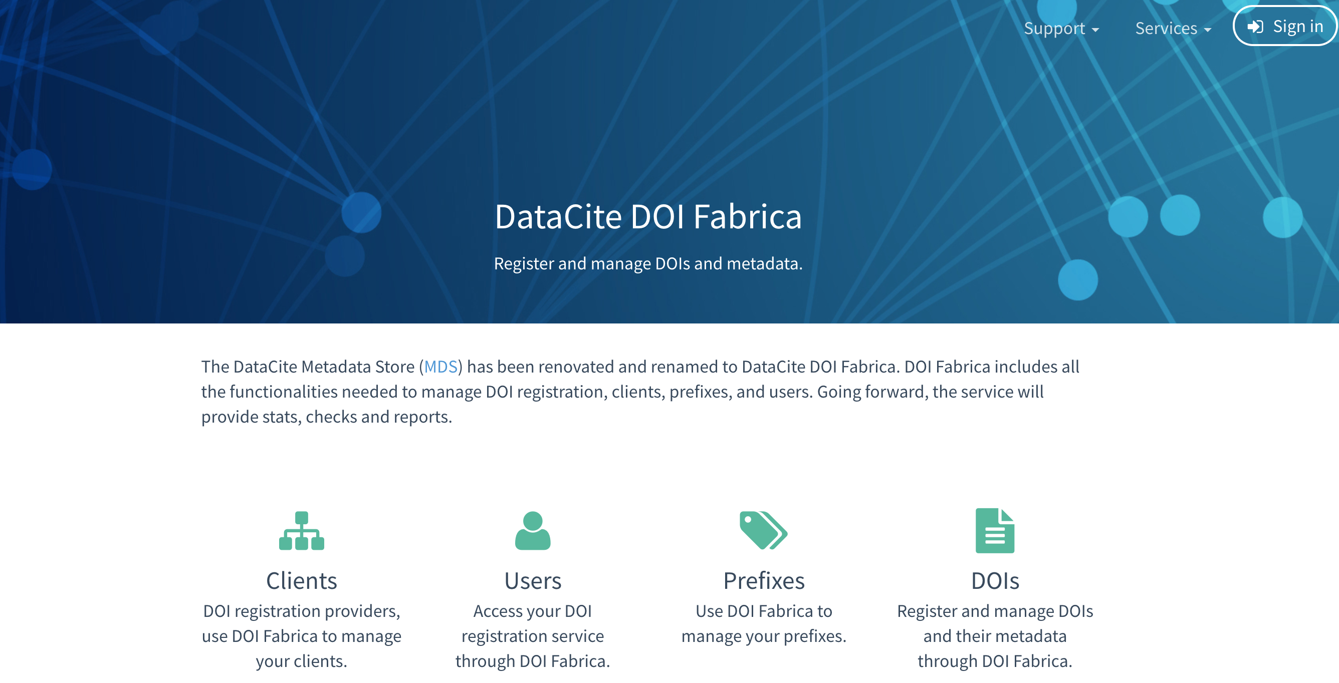 DataCite DOI Fabrica homepage: https://doi.datacite.org/
