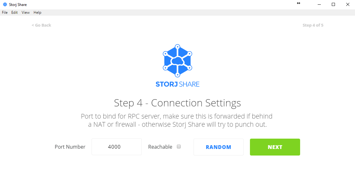 "*Figure 3.13. Connection settings step, leave the port field at default value and then click ""Next"". By clicking on random, Storj Share will use a random UPnP port to connect to the Storj network.*"