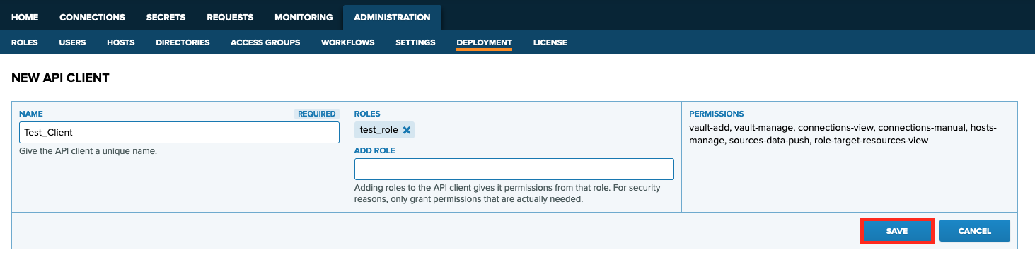 Provide a Name for the API client. To provide permissions, also add some Roles for the API client. Click **Save** to save your API client.