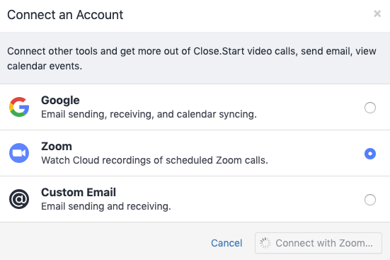 Sync your Zoom account with Close
