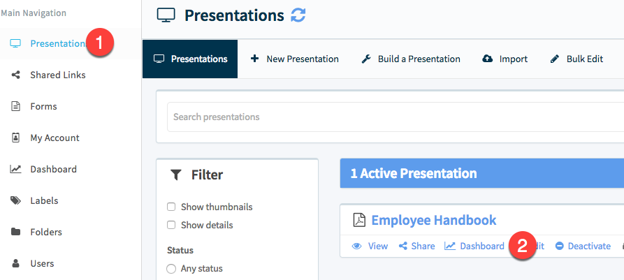 "Navigate to Presentations, then click ""Dashboard"" for the item."