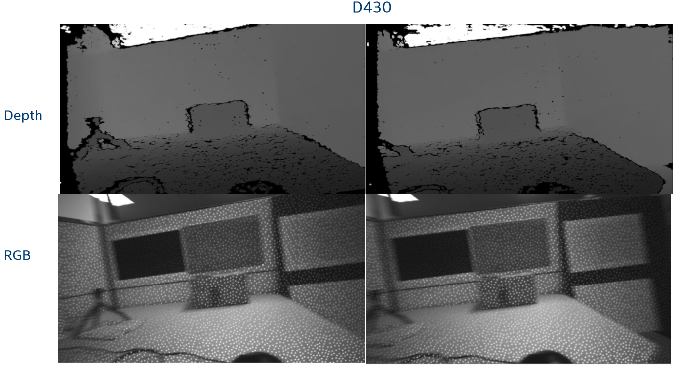 Fig. 9: Horizontal motion. Sequential frames (left to right) of front face of a box while D435 camera is rotated horizontally.  Top: D430 depth image. Bottom: corresponding D435 grayscale image. Almost no motion artifacts are observed.
