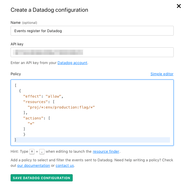 The Create a Datadog configuration screen with the Advanced editor open and a policy inside it.