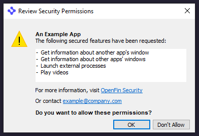 Screenshot showing the Review Security Permissions dialog box