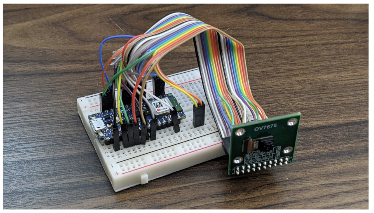 Showing all connections between the OV7675 camera module and the Arduino Nano 33 BLE Sense.