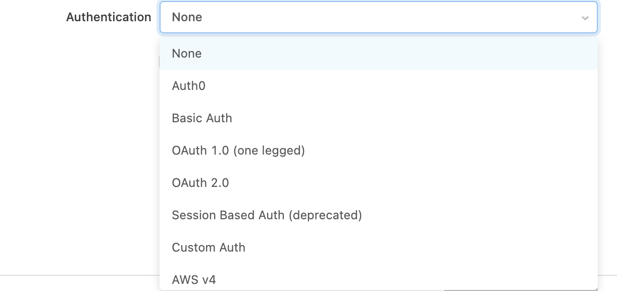 Dropdown to add authentication.