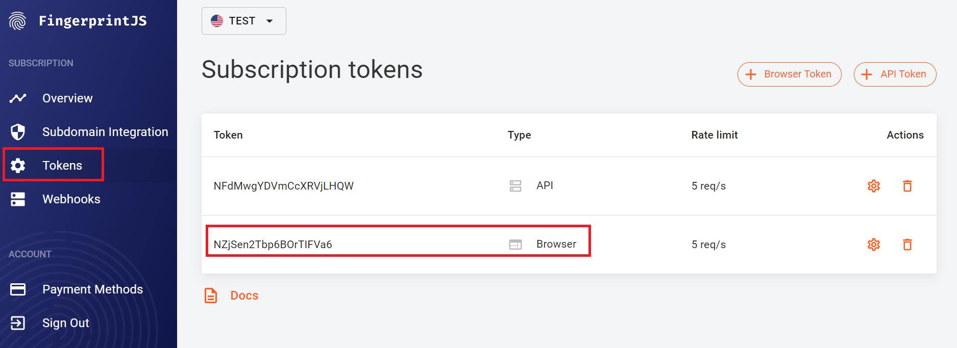 Screenshot of tokens in FingerprintJS dashboard