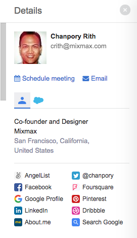 The Mixmax sidebar in Gmail