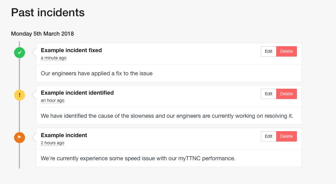 TTNC status update example