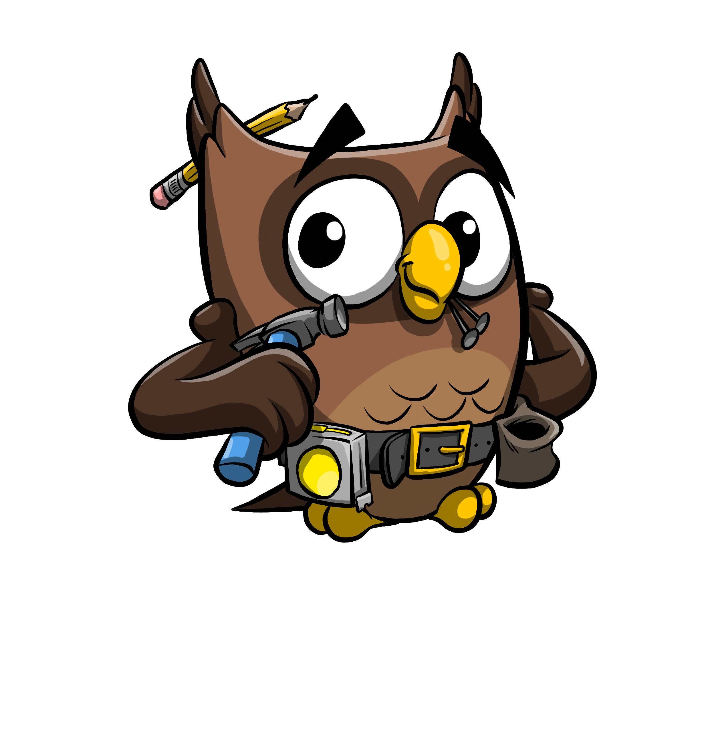 This is Owlbert as a handyman!