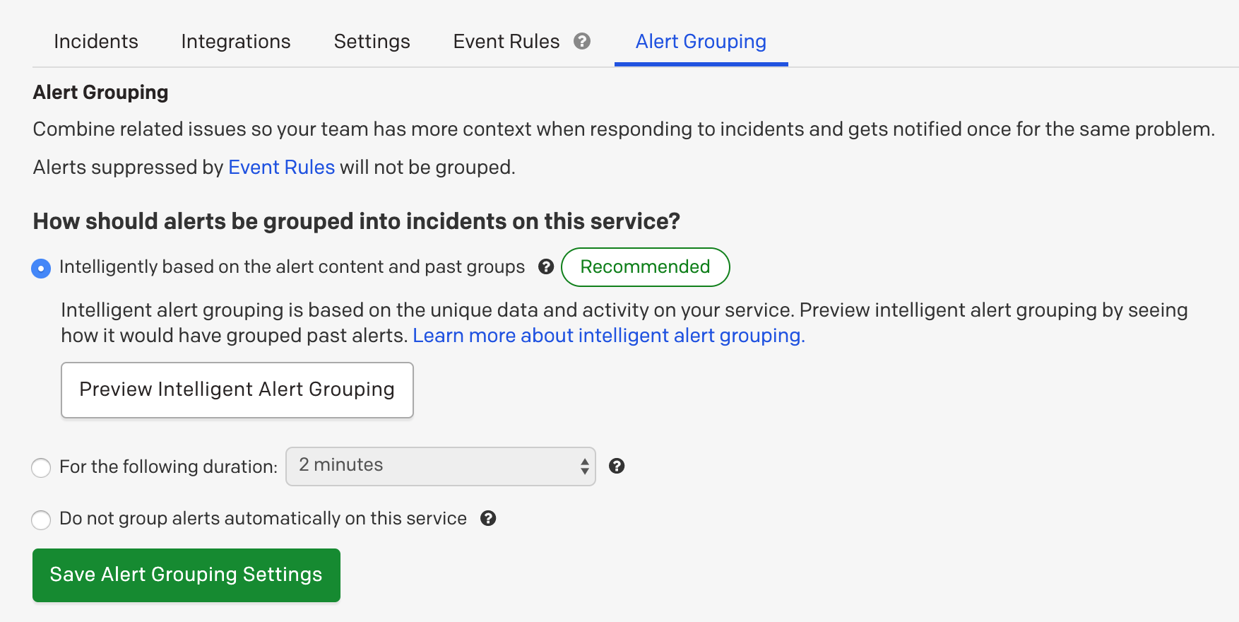 (2) Intelligent Alert Grouping option on a recommended service
