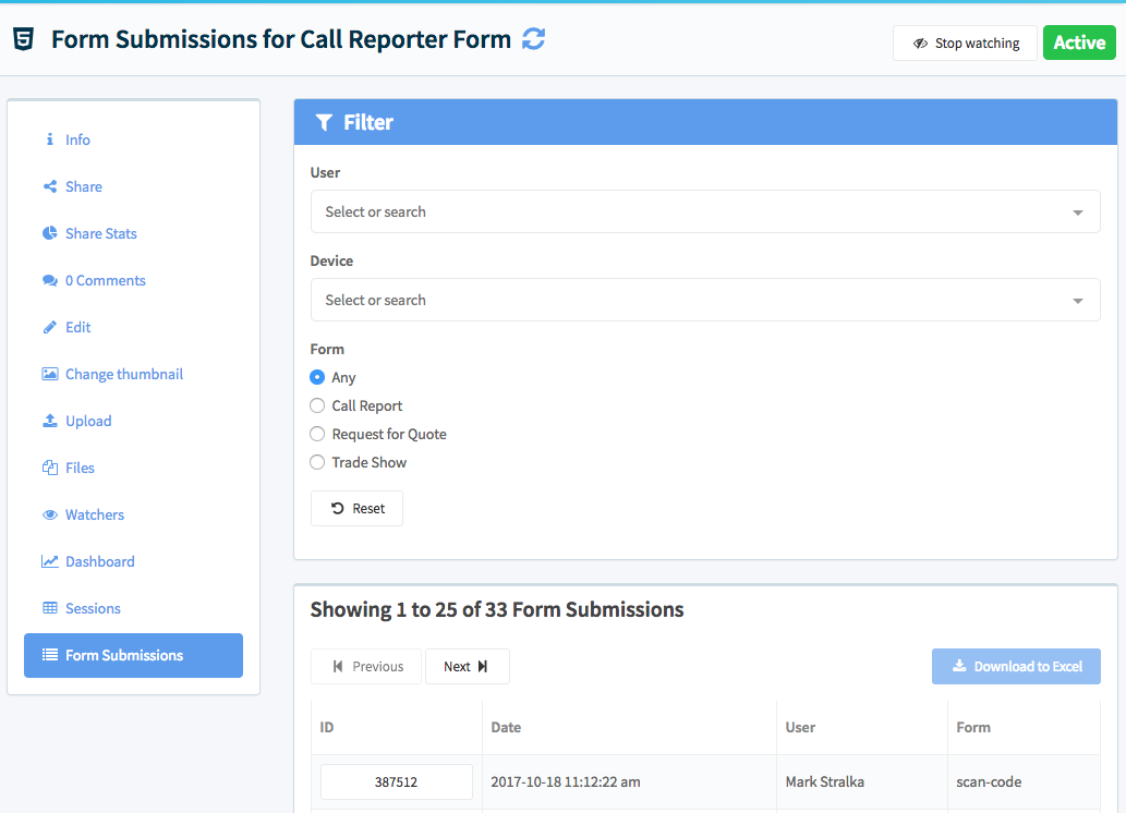 The form submissions for the Call Reporter Form